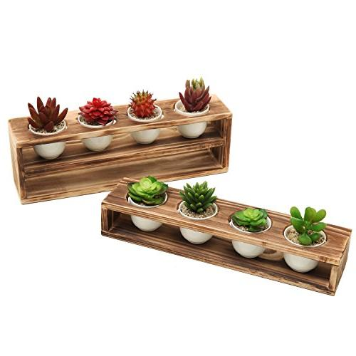 MyGift Burnt Tiered Planter with 8 Mini White Ceramic Plant of 2