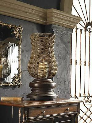Rustic Mesh Hurricane Candle Holder | Dark Brown Cottage Pil