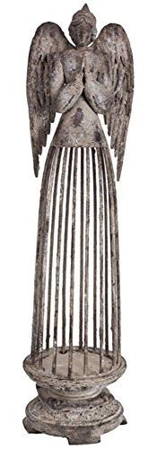 19.5 Inch Large Rustic Metal Praying Angel Figure Candle Hol
