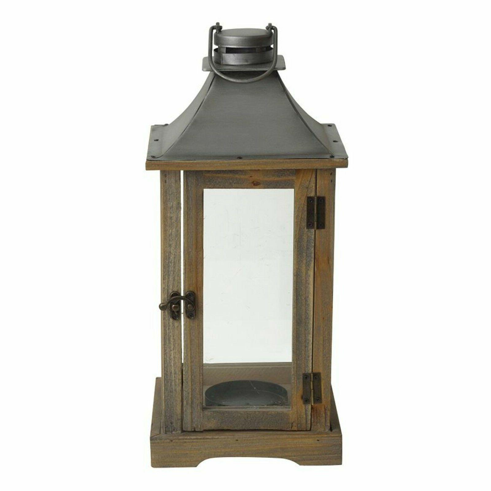 Rustic Wood Clear Glass Panes Pillar Candle Holder Lantern 1