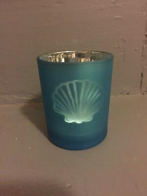 sea candle holder light blue sea shell