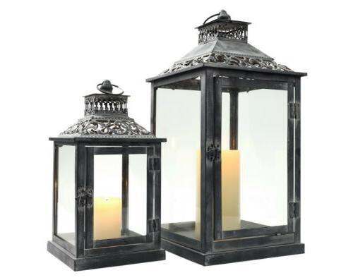 Set of 2 Decorative Candle Lanterns Vintage Metal hanging La