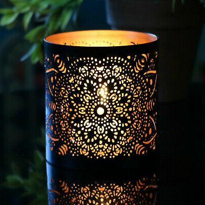 set of 2 metal tealight and votive