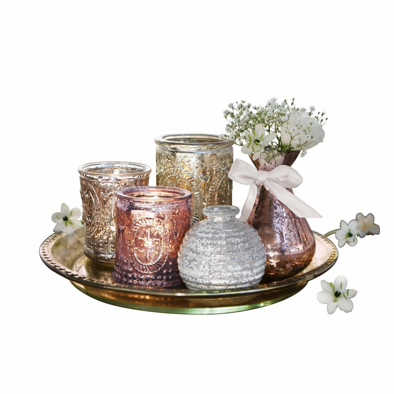 Set Of 3 Lantern Candle Holder Glass Tray Vases Ornament Cen