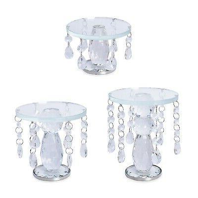 set of 3 transparent crystal home decor