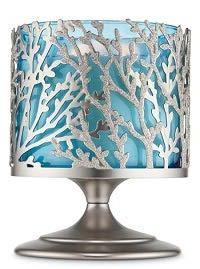 Bath and Body Works Silver Coral Pedestal 3 Wick Candle Hold