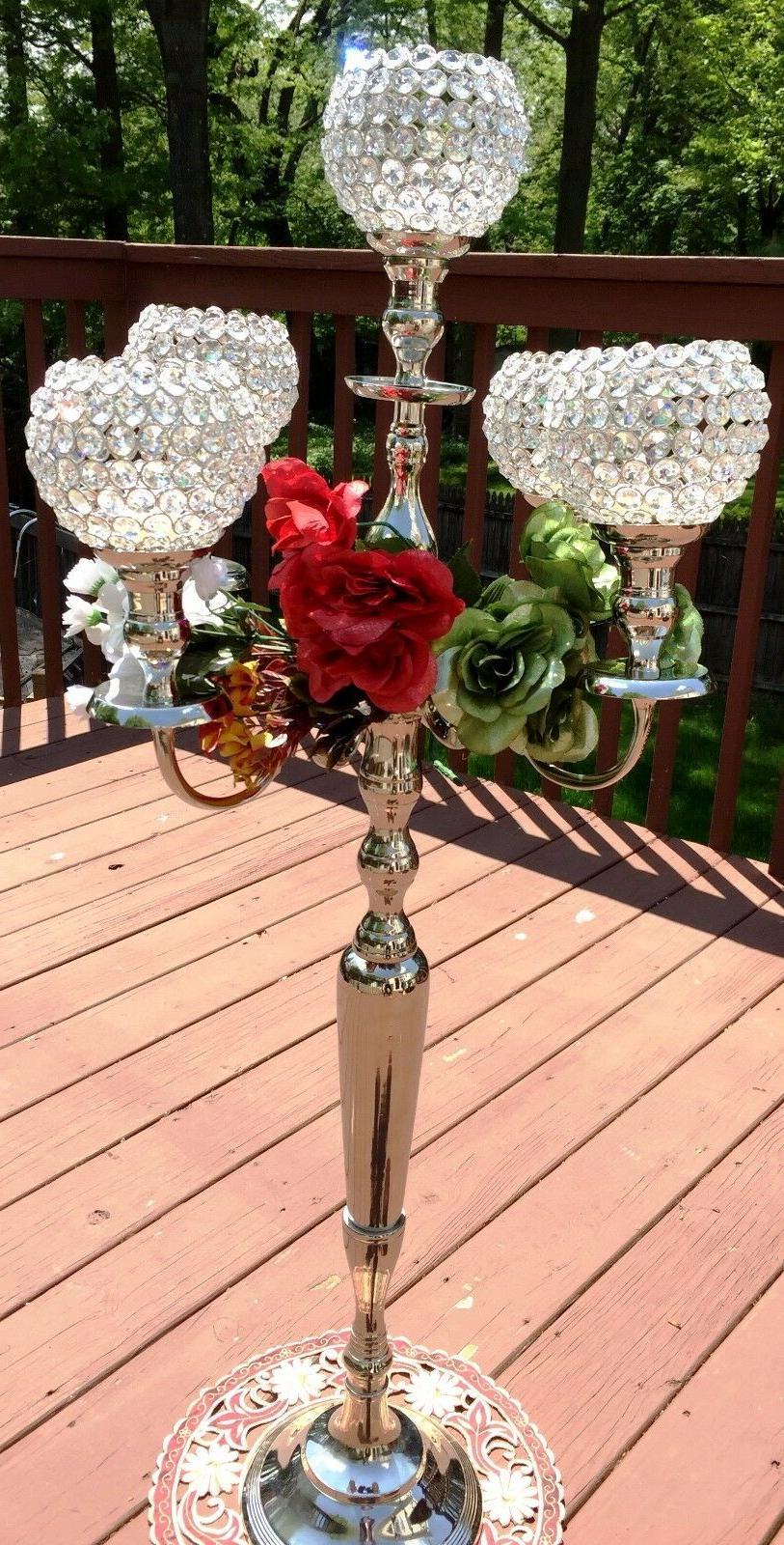 Silver Crystal 5 Arm Candelabra Candle Wedding Centerpiece inch