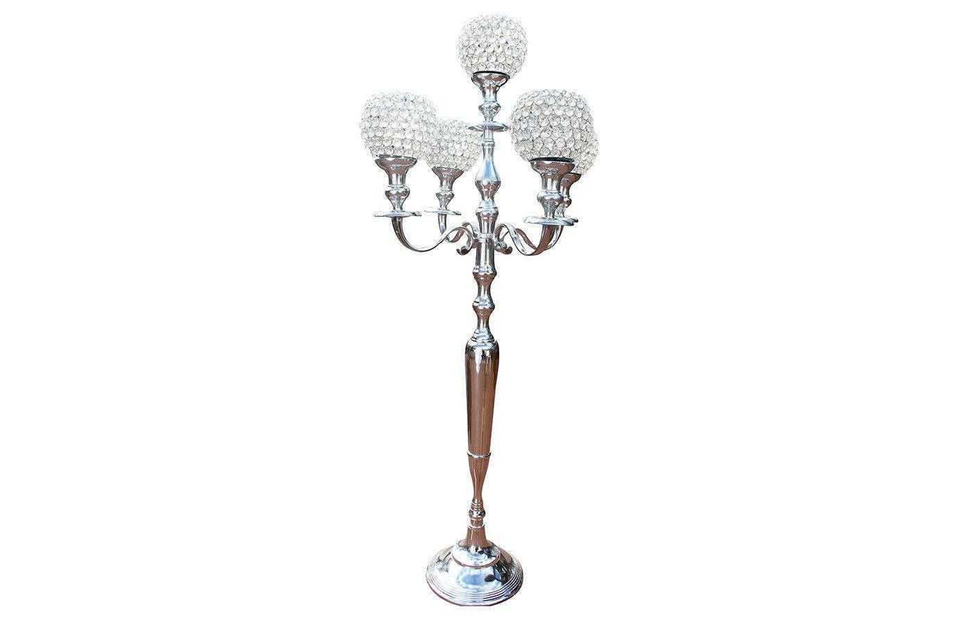 Silver Candelabra Candle Centerpiece inch