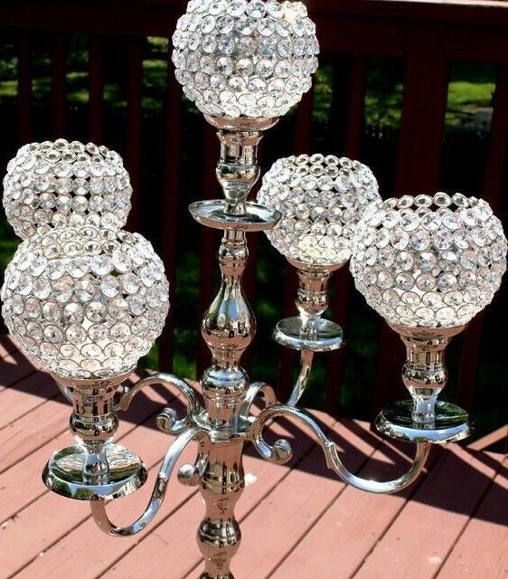Silver Crystal Candelabra Holder Centerpiece 117 cm inch