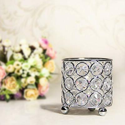 VINCIGANT Crystal Candle Holders,Cylinder Metal