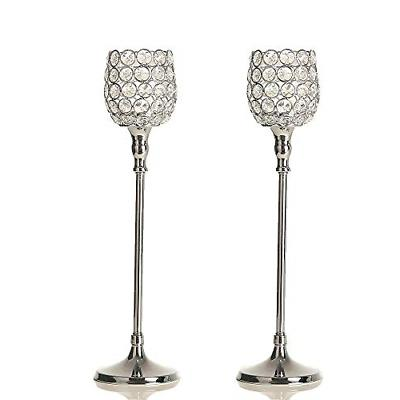 silver crystal candle holders pillar candlestick set