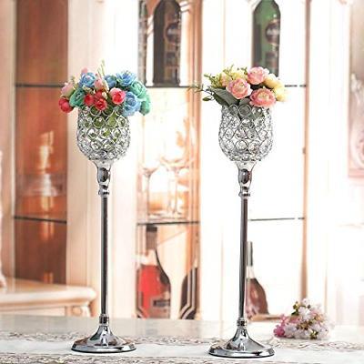VINCIGANT Silver Crystal Holders/Pillar Candlestick Set Day