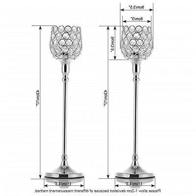 VINCIGANT Silver Crystal Candle Holders/Pillar Set for Day