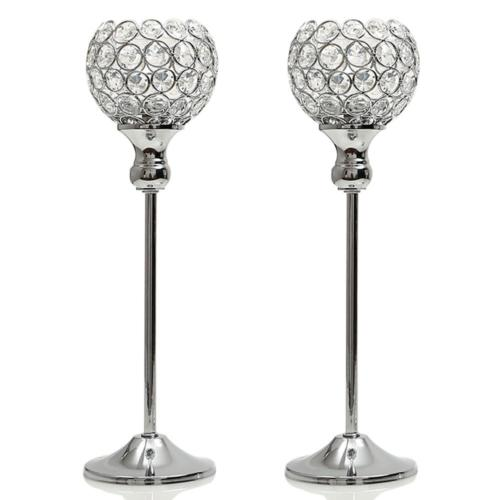VINCIGANT Silver Crystal Pillar Candle Holders Coffee Table