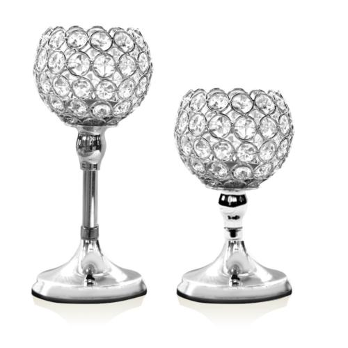 VINCIGANT Silver Crystal Pillar Candle Holders Set of 2(No