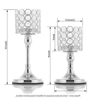 VINCIGANT Silver Crystal Candle of 2 Tab...