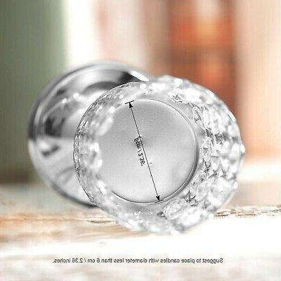 VINCIGANT Silver Cylinder Crystal Candle Holder of Tab...