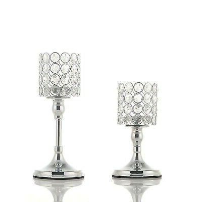 silver cylinder ball crystal candle holder set