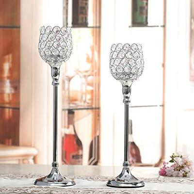 VINCIGANT Silver Candle Set of 2 Cabinet Table