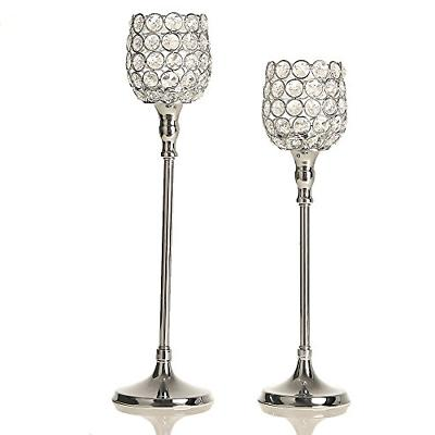 VINCIGANT Silver Long Stem Candle Holders Set of 2 for Buffe