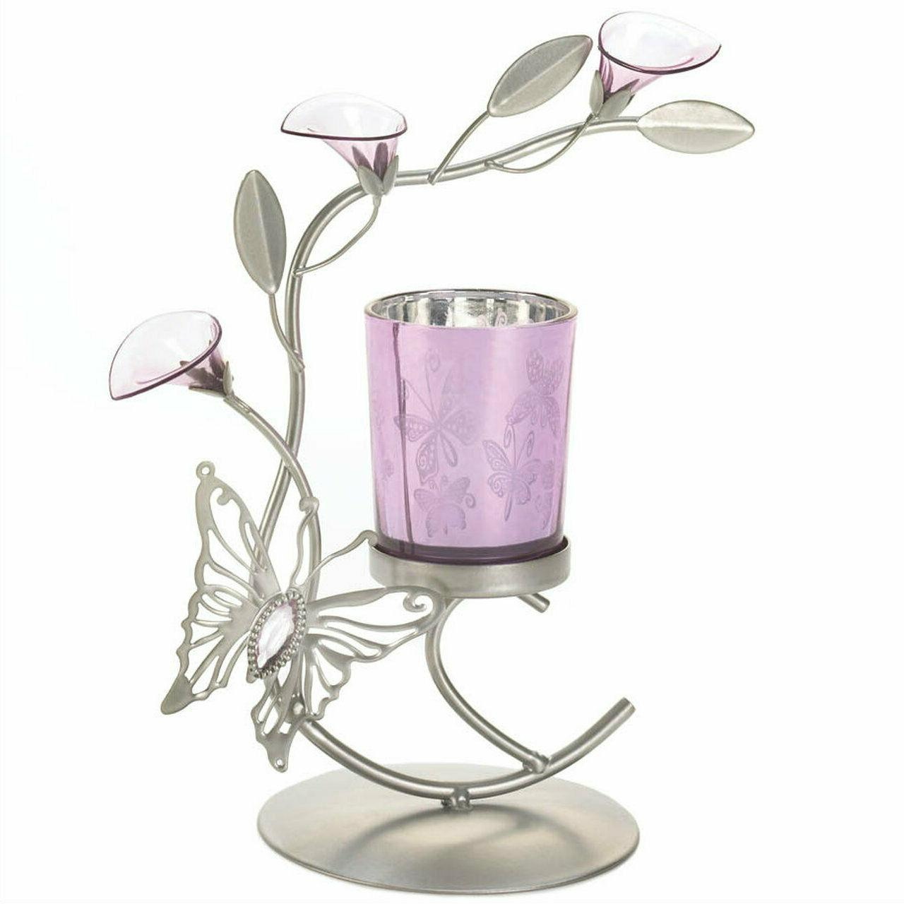 silver purple butterfly lilly candle