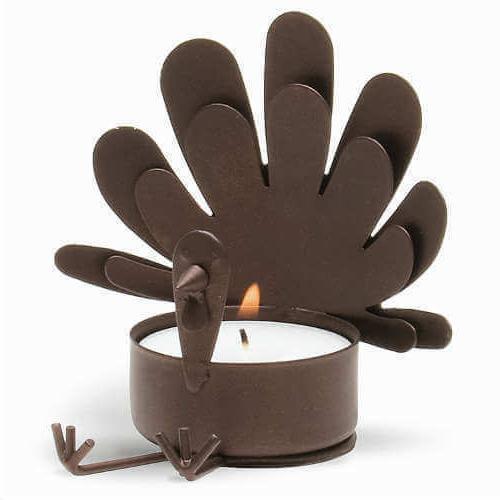 sitting turkey metal tealight candle