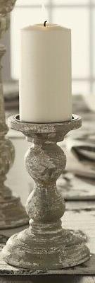 Small Distressed Gray, White, and Muted Green Wood Candlesti