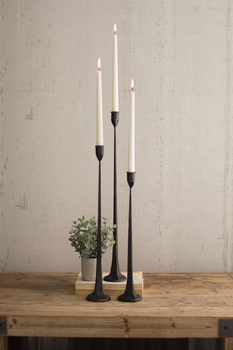 Tall Cast Iron Taper Candle Holder Rustic Black Set of 3