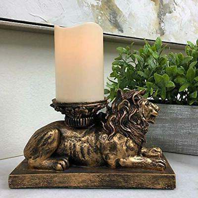 "The Nook Lion Figurine Holder Antique Gold """