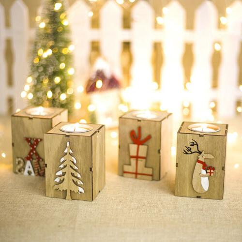 USA Xmas Tree Reindeer Wooden Candlestick Candle Holder Home