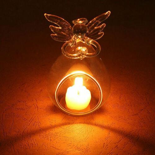 Hollow Glass Angel Candle Holder Garden Night Wedding Outdoo