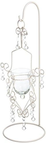Vintage Crystal Drop Candle Holder Hanging With Stand