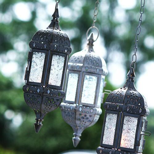 Metal Candle Glass Lantern