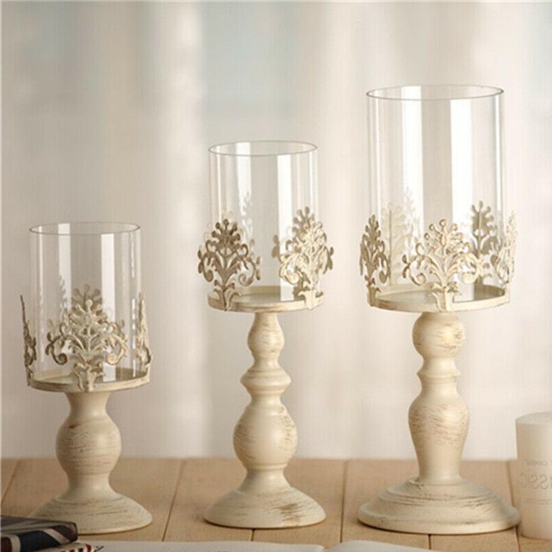 ☆ Vintage Pillar Candle Holder Glass Metal Candlestick Wed