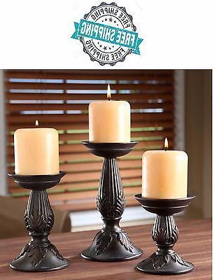 Vintage Pillar Candle Holders Set Of 3 Living Room Decor Sta
