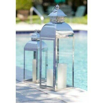 Set of 2 Vintage-Style Stainless Steel & Glass Pillar Candle