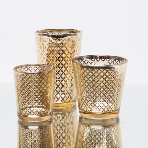 votive candle holder gold mercury lattice set