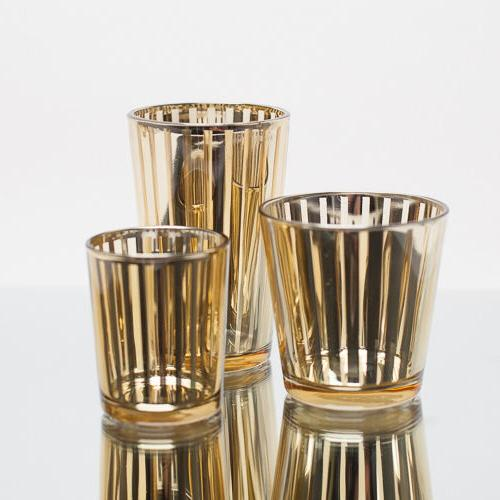 Richland Votive Candle Holder Gold Mercury Stripe Set of 12