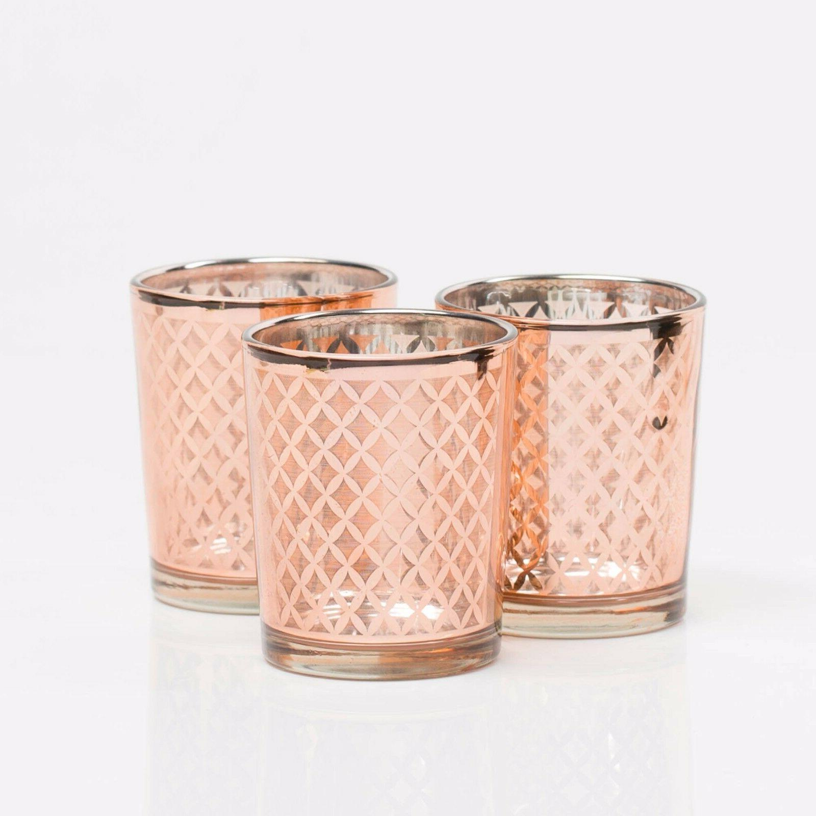 Richland Votive Candle Holder Rose Gold Mercury Lattice Set