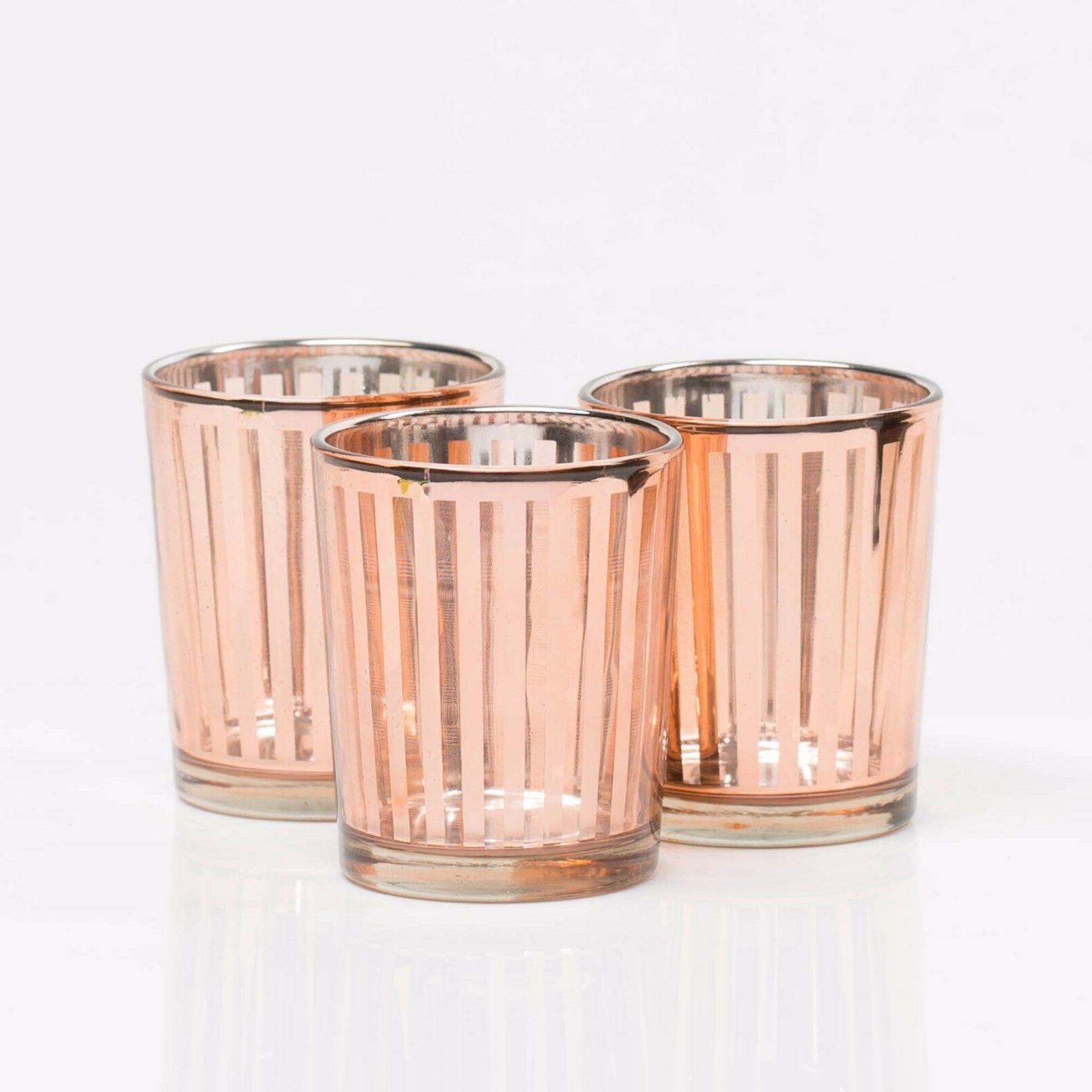 Richland Votive Candle Holder Rose Gold Mercury Stripe Set o