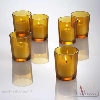 Eastland Votive Candle Holders Amber Glass Set of 12, Home &
