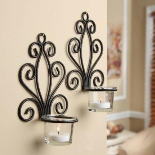 Wall Mount Sconce Candle Holder Candleholder 2 Piece Set Hom