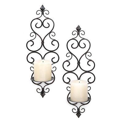 WALL SCONCE SET: Piece Black Iron NEW