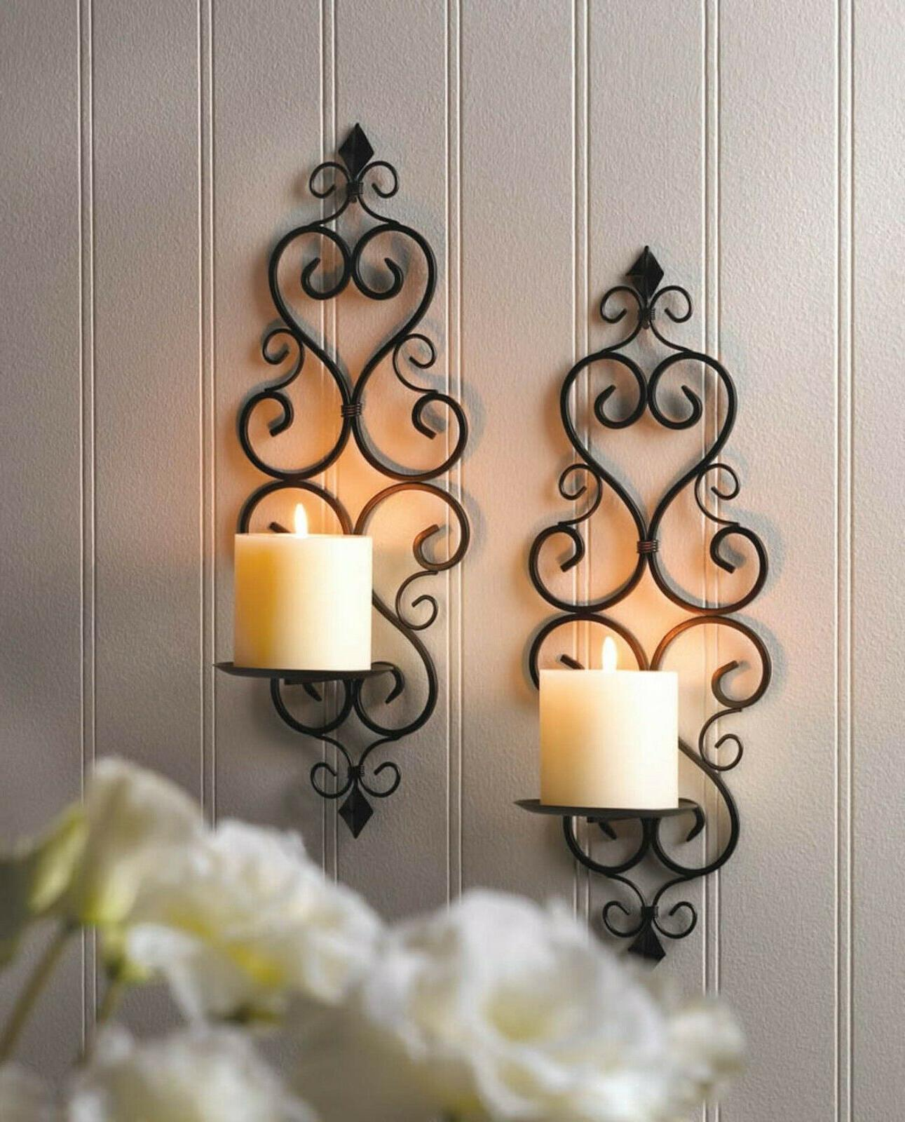 wall sconce set 2 piece black iron