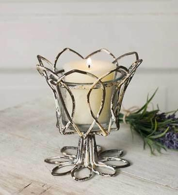 Weathered Distressed-Classic Farmhouse-Tulip Votive Candle H