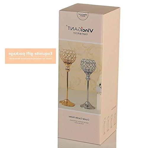 VINCIGANT Valentines Day Crystal Tea Holders/Sparklers Wedding Housewarming Dining Table Centerpiece,Set 2