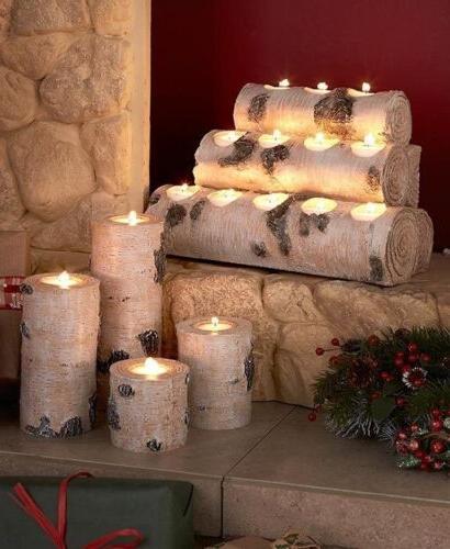 White Birch Log Wood Look Tealight Candle Holder Pillars Cab