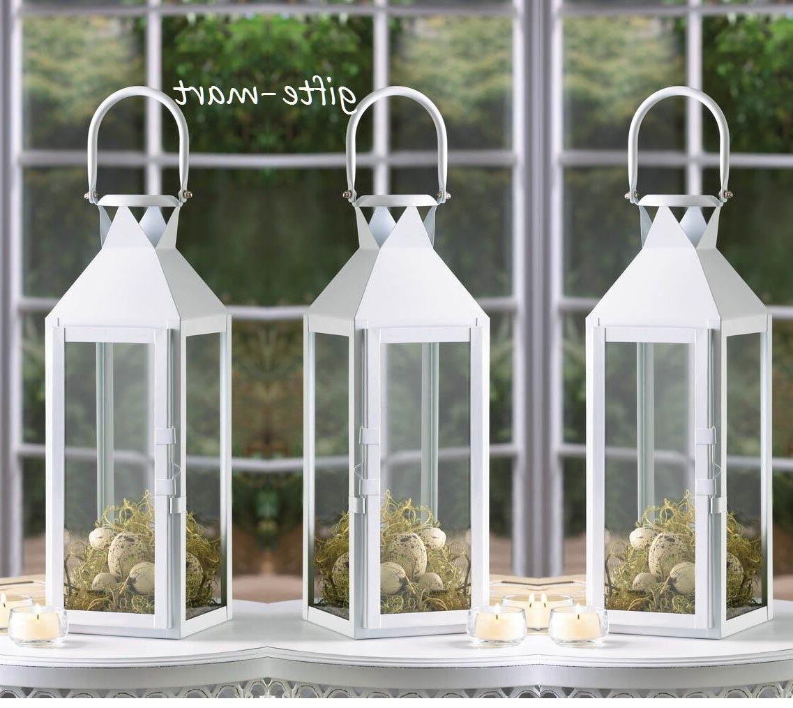 "10 lot large WHITE 15"" tall Candle holder Lantern lamp weddi"