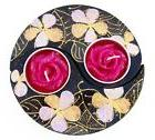 Yin Yang Wood Tealight Candle Holder Set Hand Painted Flower