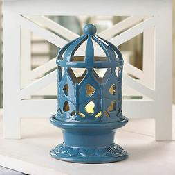 LANTERN: Glazed Blue Ceramic Candle Holder with Flicker LED